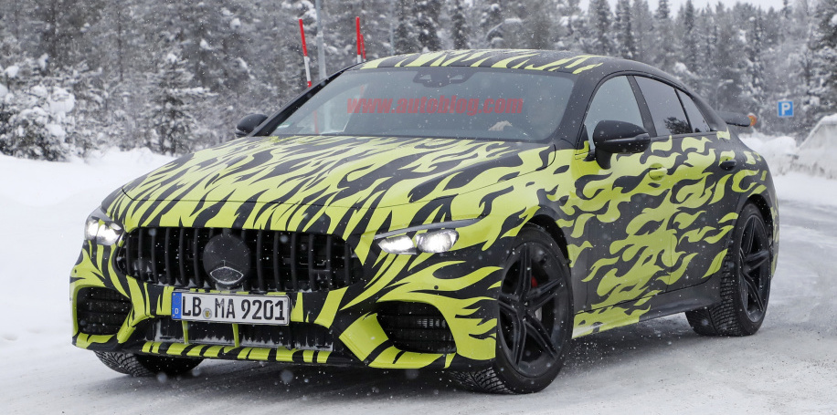 2019 Mercedes-AMG GT 4-door spied sporting flames