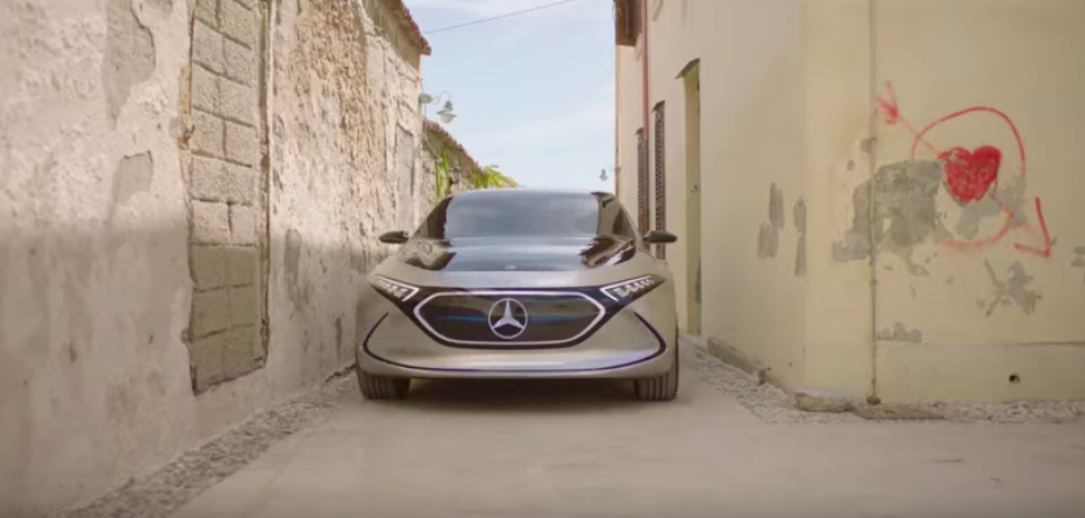 Mercedes shows us a working EQA electric car driving through Sicily