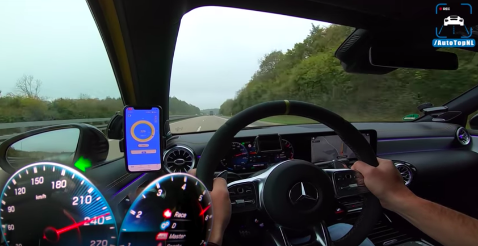 See The Mercedes-AMG A45 S Hit Its Top Speed Limiter On The Autobahn