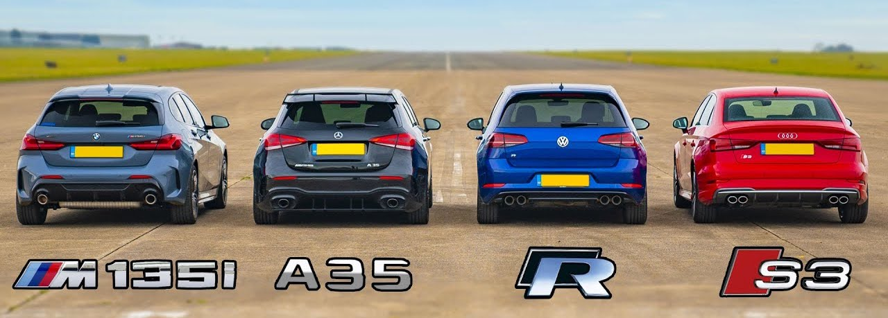 New BMW M135i Drag Races AMG A35 and Golf R With Surprising Results