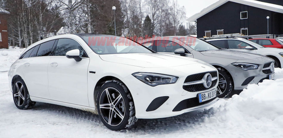 Mercedes-Benz CLA 250e plug-in hybrid spied in sedan and wagon form
