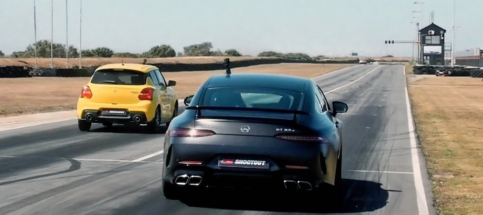 Suzuki Swift Sport vs. Mercedes-AMG GT 63 Drag Race Requires a Lot of Cheating