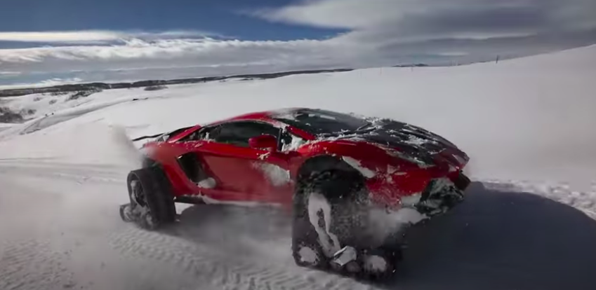 Lamborghini Aventador On Snow Tracks Blitzes Winter's Wonderland